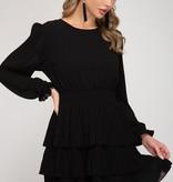 Black LS Pleated Layered Skirt Dress