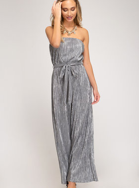 Grey Strapless Pleated Sparkle Jumpsuit