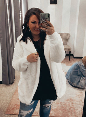 Ivory Oversized Fur Jacket Plus Size