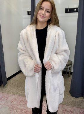 Ivory Oversized fur Jacket