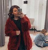 Wine Oversized Fur Jacket Plus Size