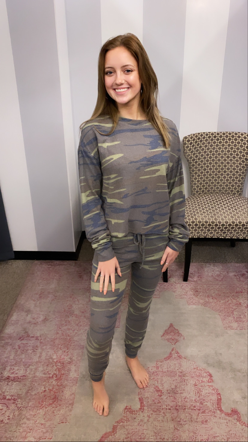 Olive Camo LS Lounge Top