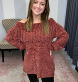 Marsala Chenille Off Shoulder Fringed Sweater