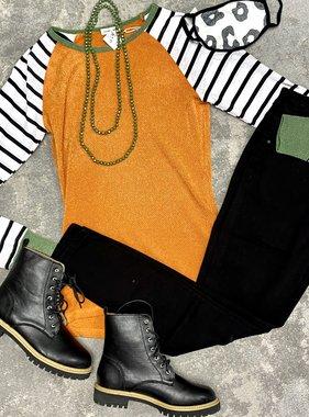 Orange Mixed Stripes LS Top