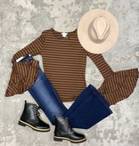 Brown/Black Striped Double Bell Sleeve Top