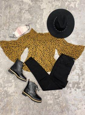 Leopard Bell Sleeve Off Shoulder Top