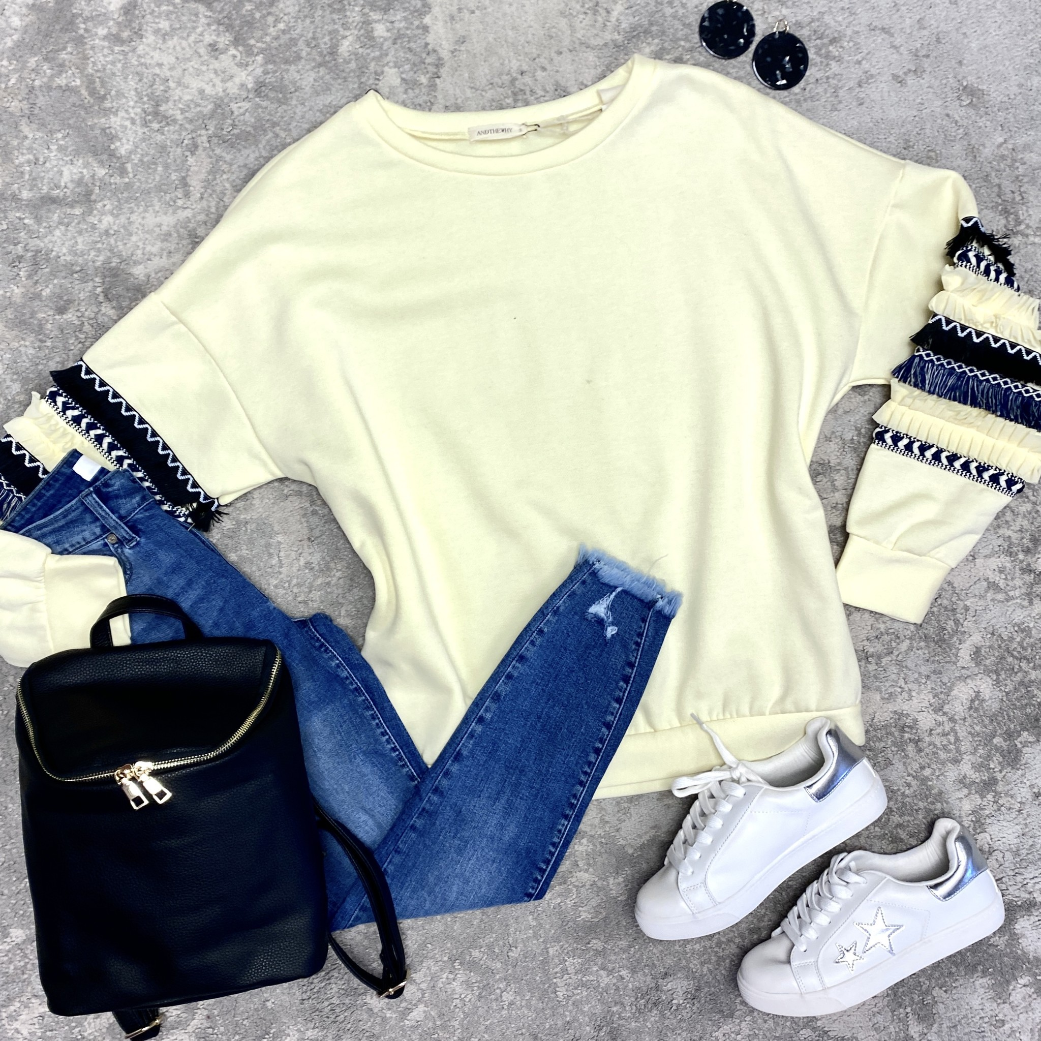Pale Yellow Ripple sleeve top