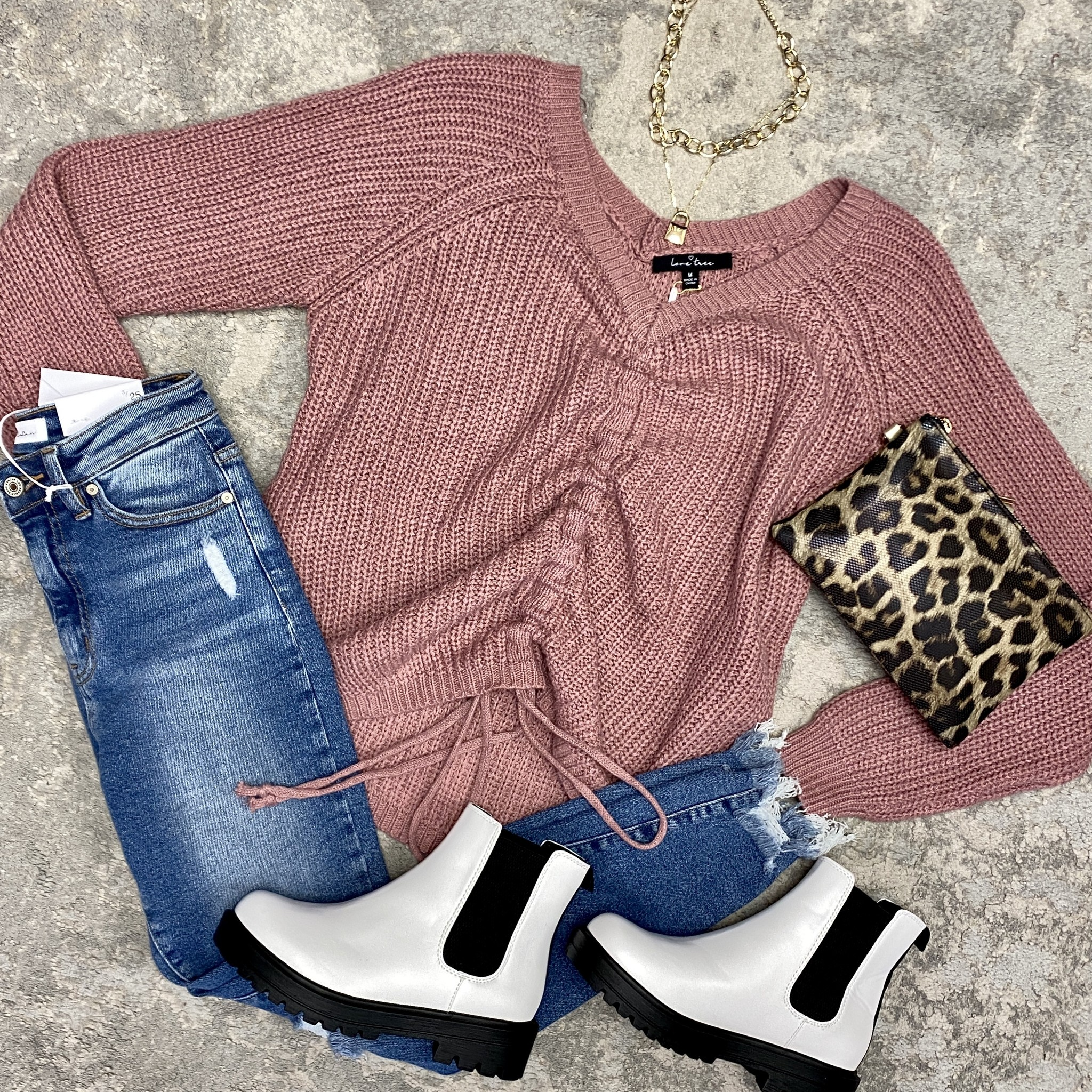 Mauve Cinched Up LS Top