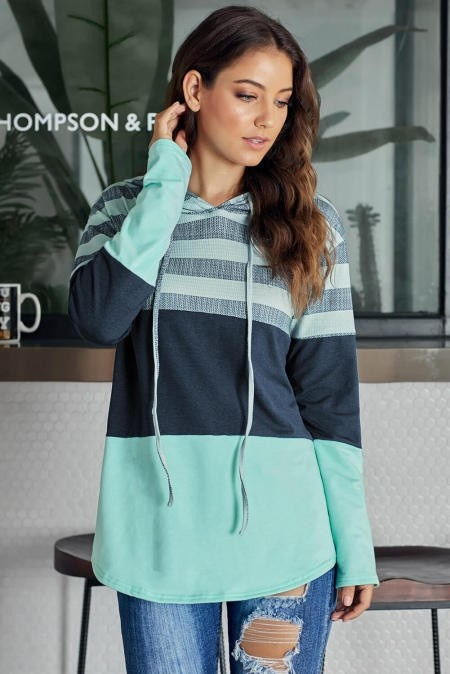 Teal Striped Mix Hooded Top
