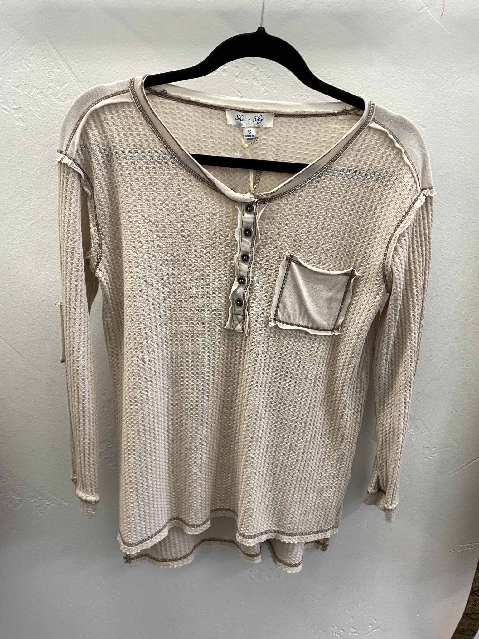 Taupe LS Button Down Knit Top