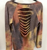 Navy/Rust Ripped Back LS Top