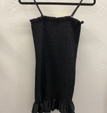 Black Smocked Ruffle Hem Dress