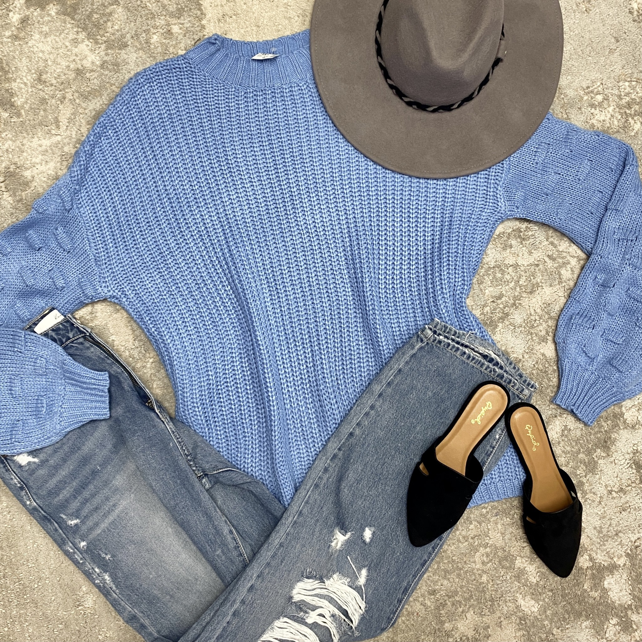 Blue Oversized Knitted Sweater