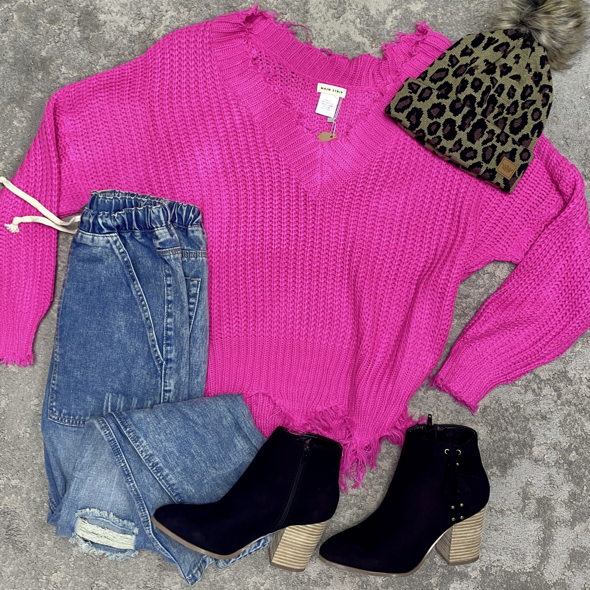 Poppin Pink  Distressed Sweater