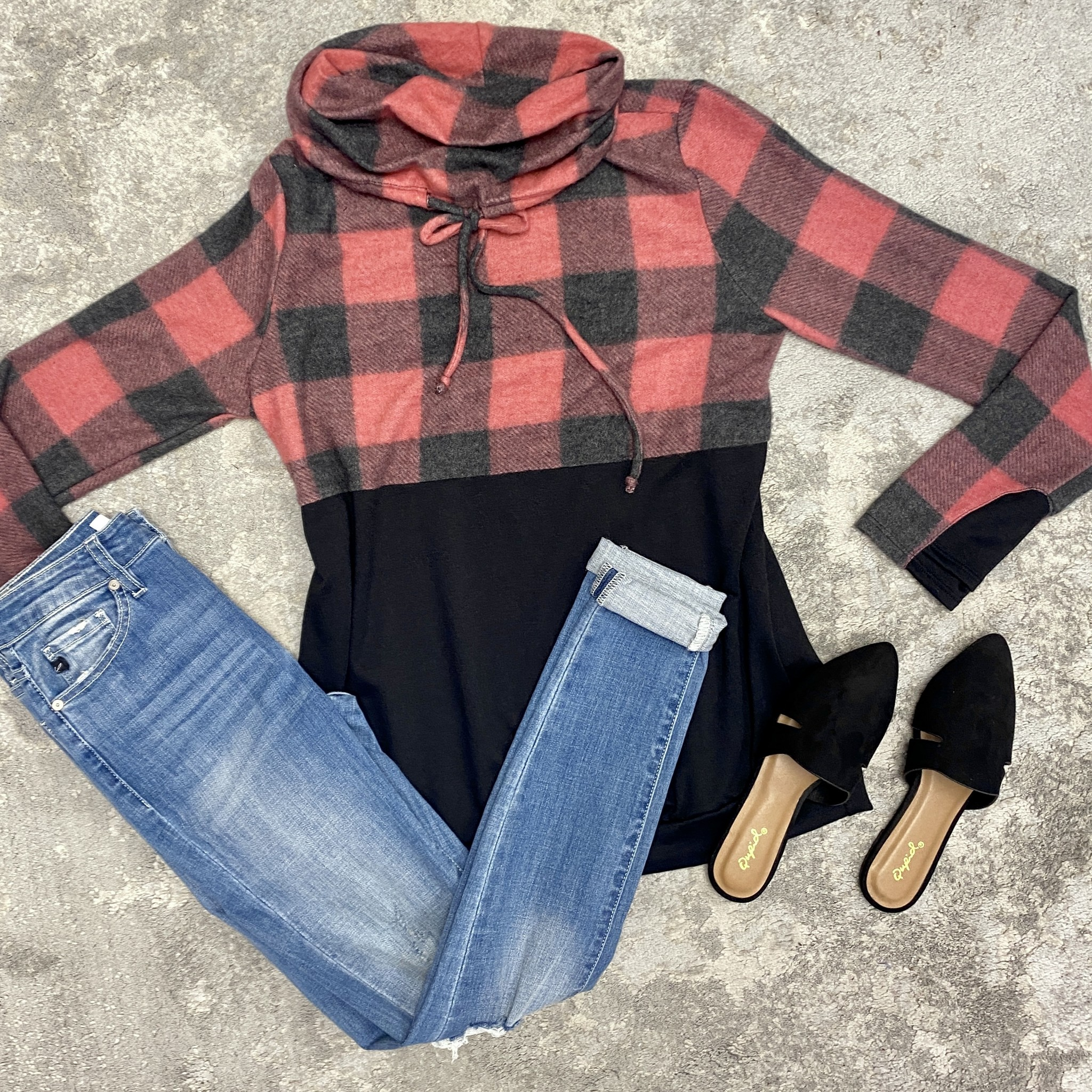 Red Buffalo Plaid Cowl Neck Top