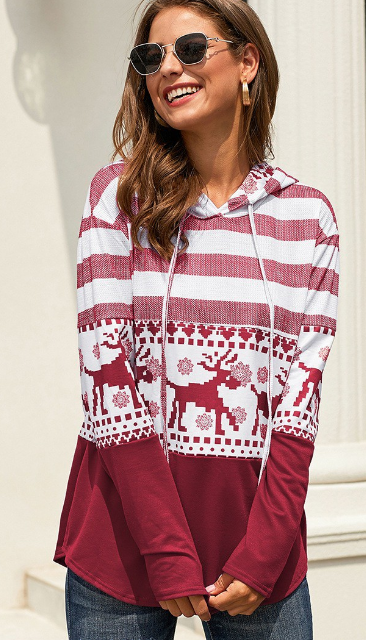 Red Christmas Patterned Mix Hooded Top