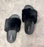 Mila Fuzzy Slipper Black