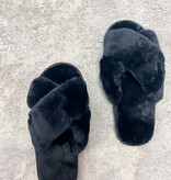 Mila Criss Cross Black Slippers