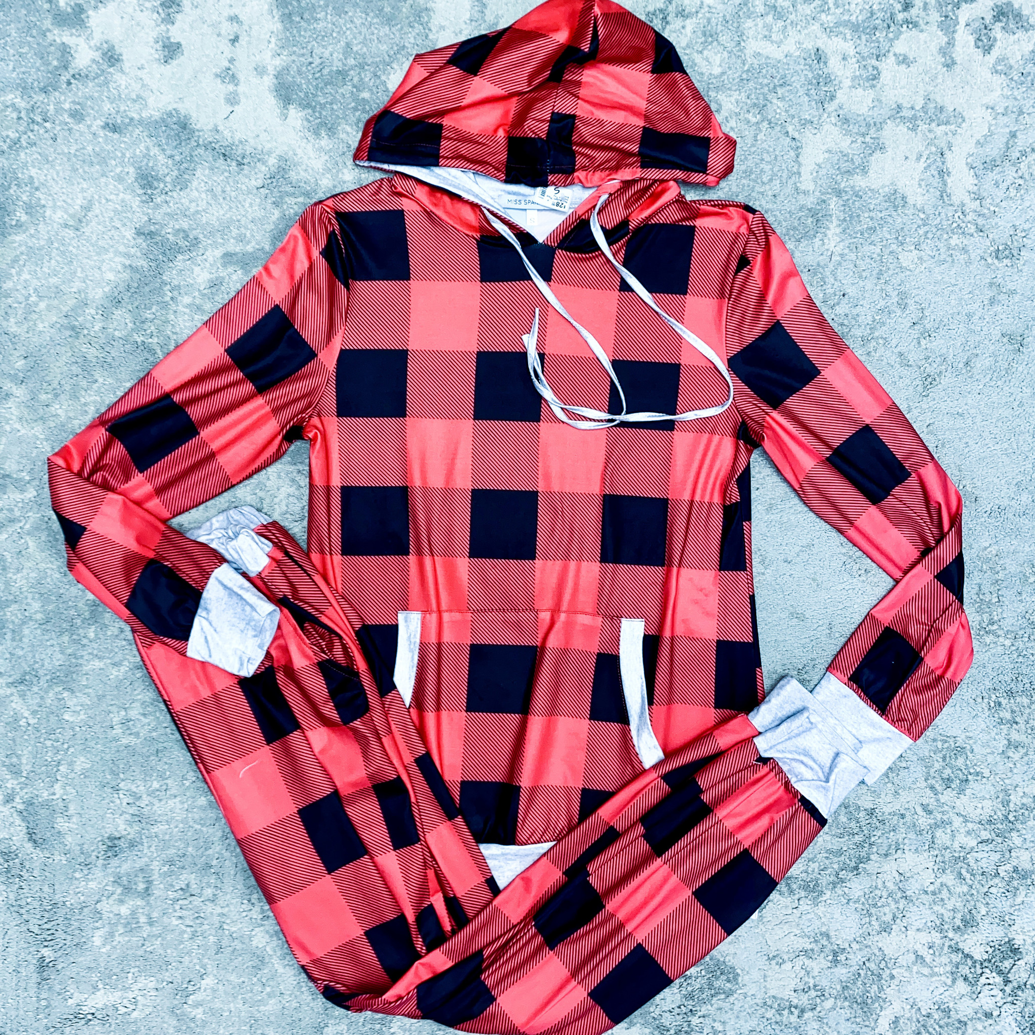 Red Buffalo Plaid Hooded Top