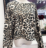 Taupe Leopard Print LS Sweater Top