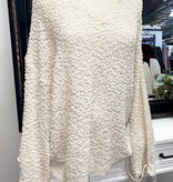 Popcorn V-Neck Oversized Sweater Ivory