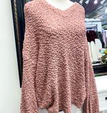 Popcorn V-Neck Oversized Sweater Mauve