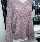 Popcorn V-Neck Oversized Sweater Lavender