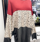 Burgundy Leopard Color Block LS Plus Top
