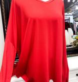 Ruby Red LS Plus Dolman Sleeve Top