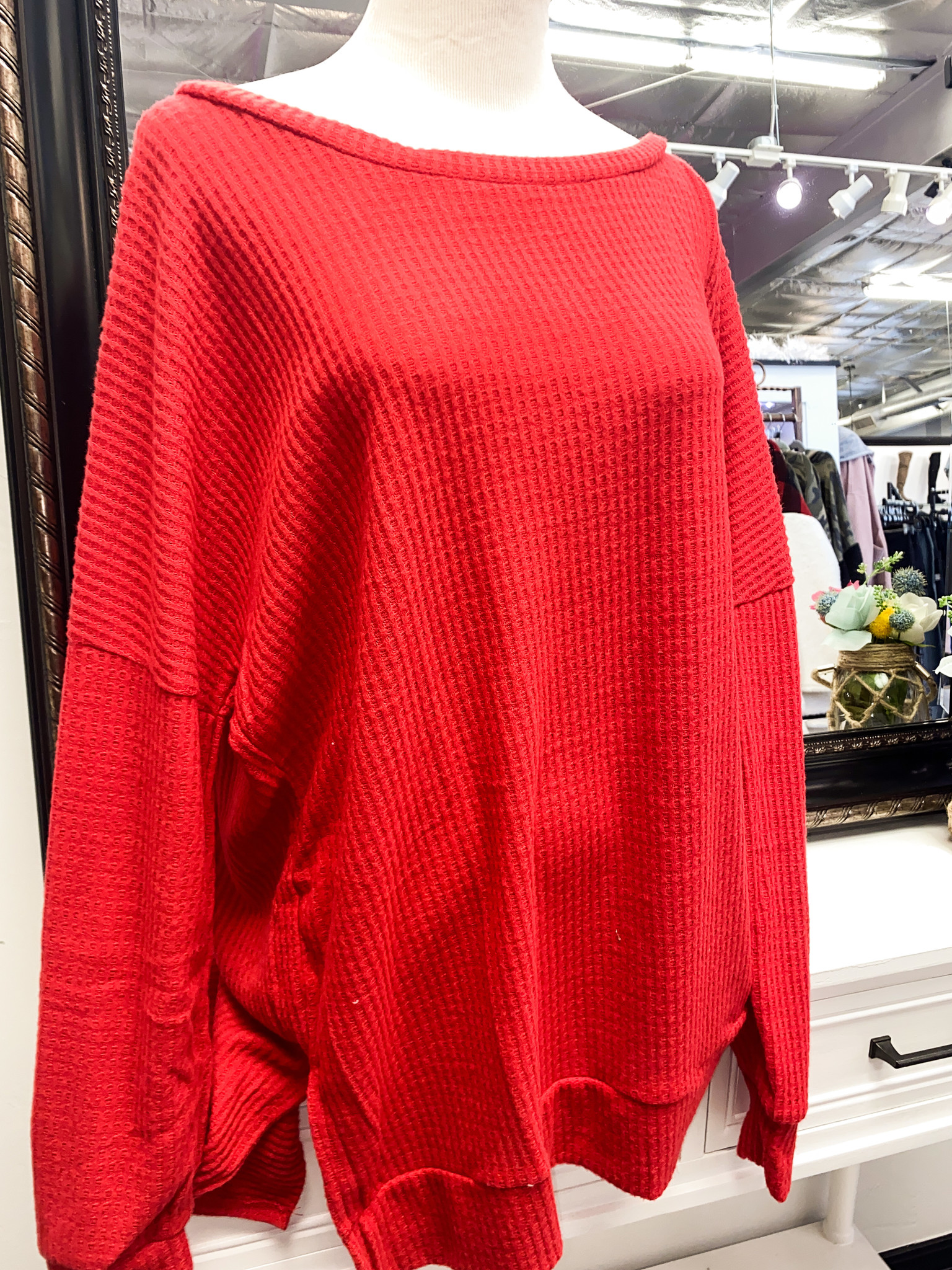 Ruby Red LS Waffle Knit Top