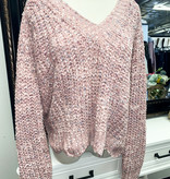 Mauve Chenille V-Neck Ribbed Knit Sweater