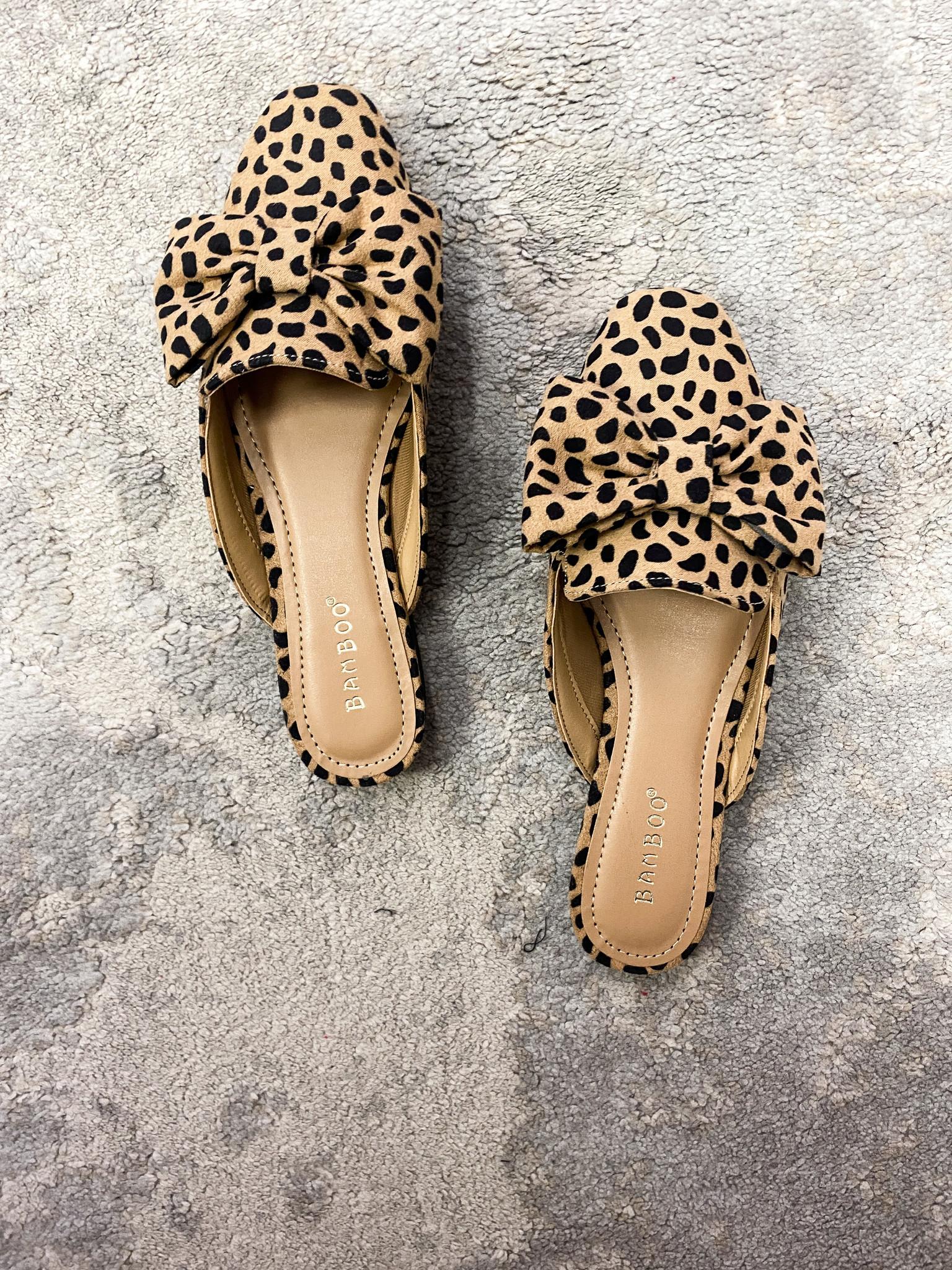 Syd Flat Cheetah Print Bow Mule