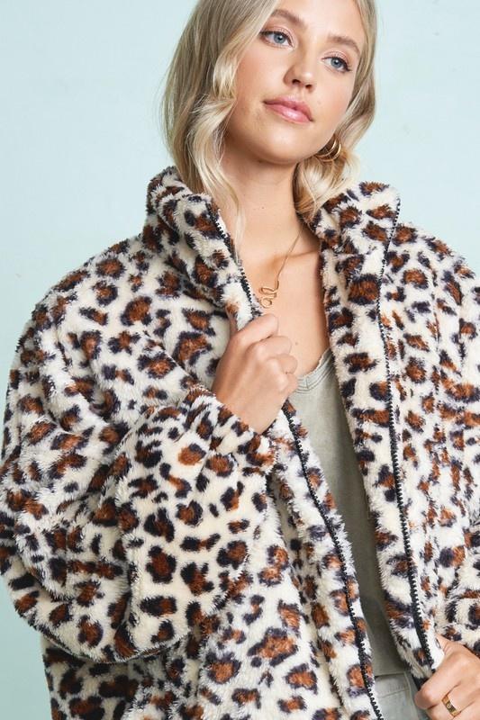 Bundle Me Up Camel Leopard Print Coat