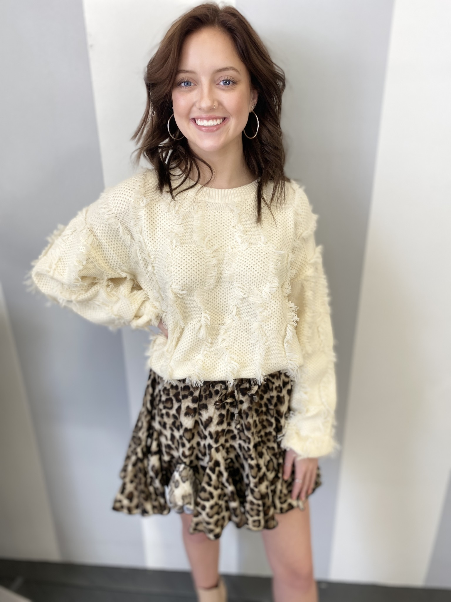 Downtown Dive Leopard Print Ruffle Skirt