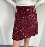 Burgundy Sequin Mini Skirt