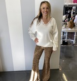 White Lace trim fuzzy sweater