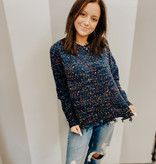 Navy Frayed sweater with Multi color pompom