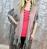 Taupe and Black Elegant Print Scarf Wrap