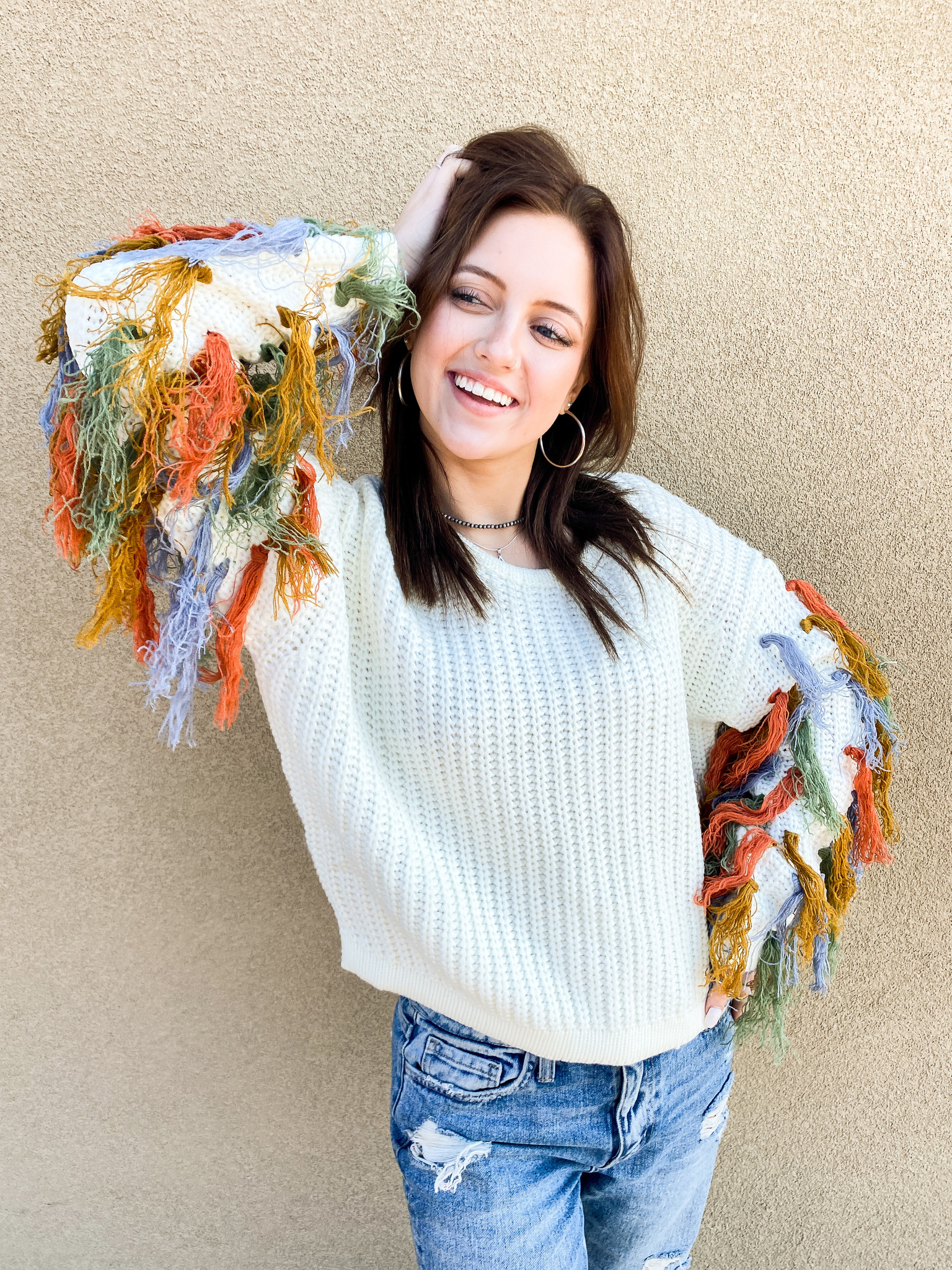 New Beginnings Fringe Sweater
