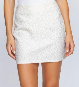 Cream Leopard Print Twill Skirt