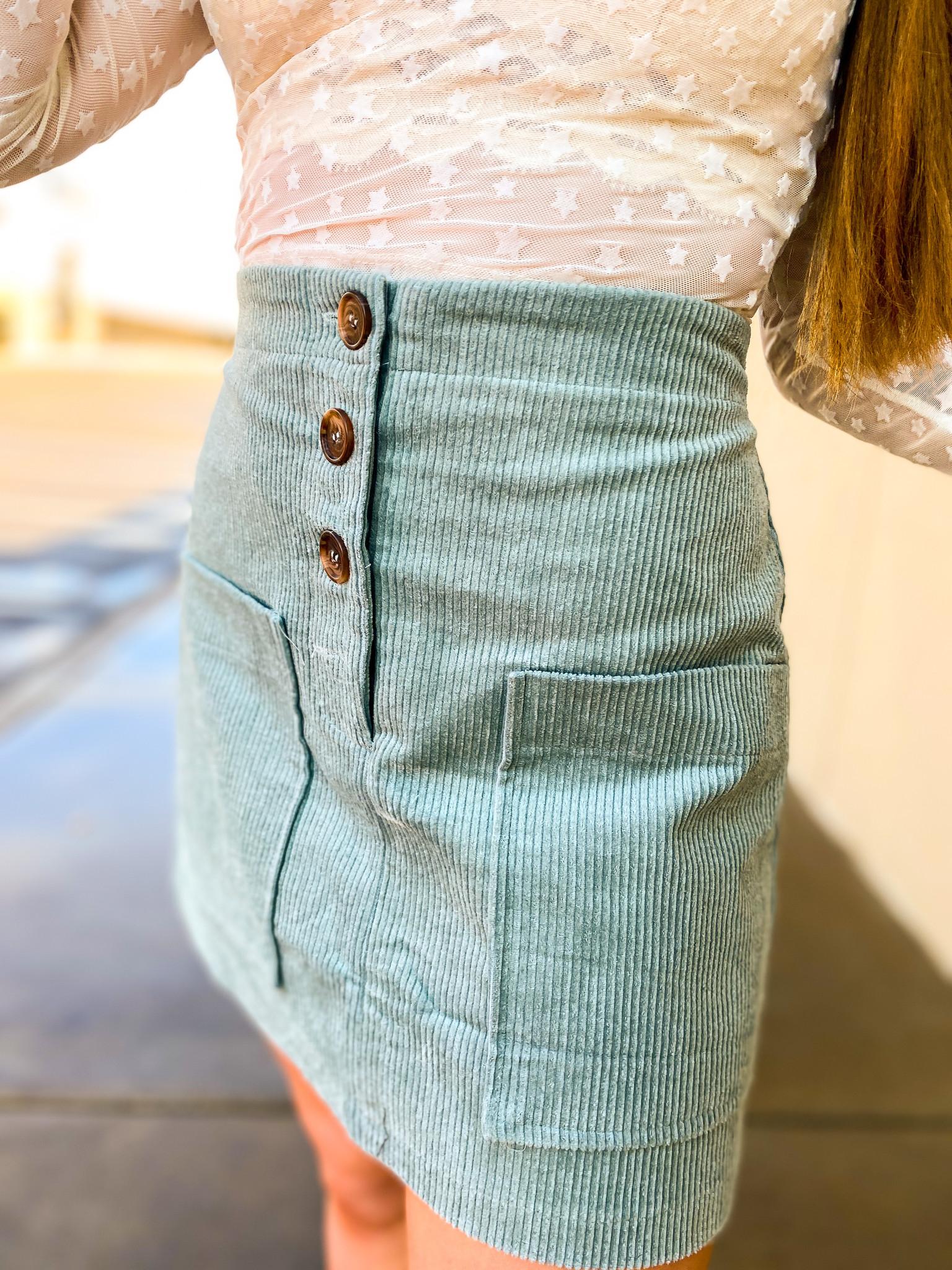 Sage Corduroy Button Down Skirt