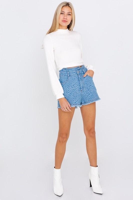 Denim Textured Papaerbag Shorts