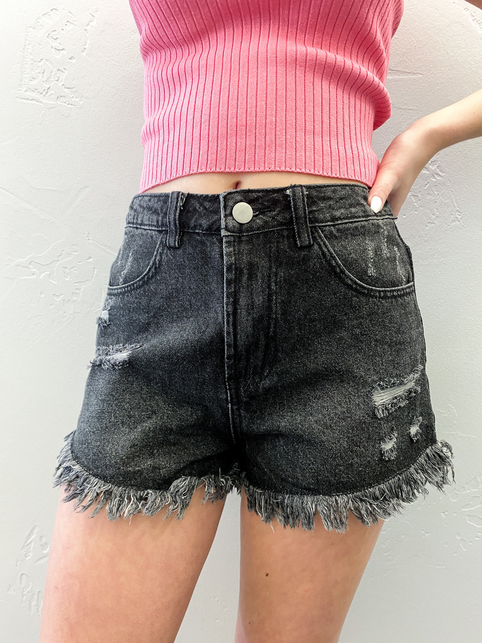 Black Destroyed Denim Shorts