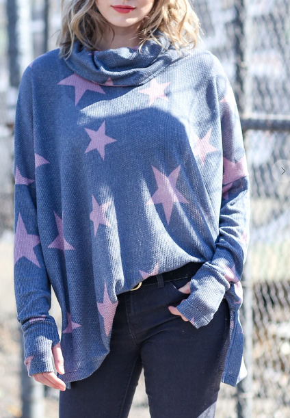 Wish Upon A Star Cowl Neck Top