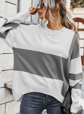 Can't Block This Grey Colorblock LS Top