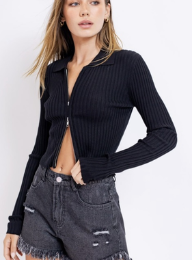 Bound To You Always Black Zipper Top