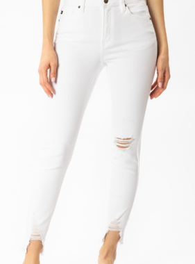 KanCan White Knee Distressed Jeans
