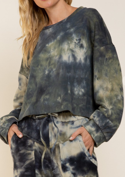 Meant To Be Green Acid Wash Sweatshirt