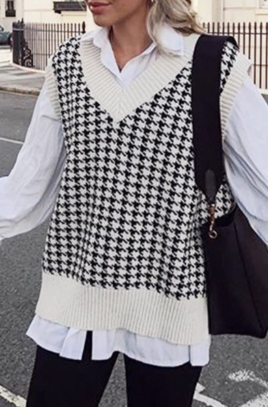 Give Me 5 Houndstooth Sweater Vest (MORE COLORS)