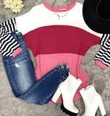 Pretty in Pink Color Blocked and Striped LS Top